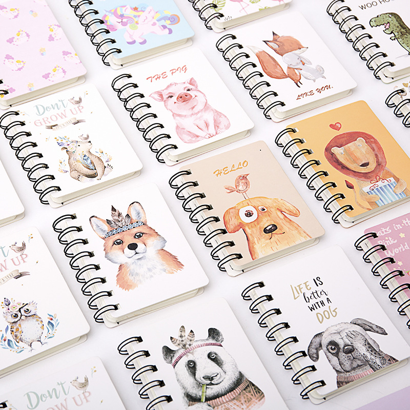 80 Sheets Lovely Rollover Coil Notebook Portable Pocket Notebook Mini Coil Cartoon Notebook  Creative Fun Animal Notebook