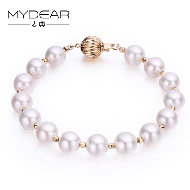 MYDEAR Pearl Jewelry Vogue Gold Bracelet Real Akoya Pearl Bracelet,100% Real 7.5-8mm Seawater Pearl,High Luster