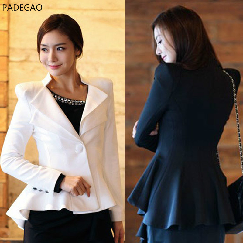 2017 Spring Autumn Short Coat Blazers Women Slim Small Suit Temperament A For Grain Of Button Tuxedo Dovetail White Black Jacket