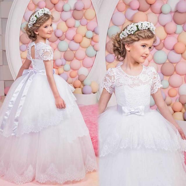 Scoop Short Sleeve Lace Little Flower Girl Dresses 2017 Little Bride ...