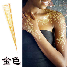 3-pack India's Gold Glitter Henna Cone 1-day Temporary Tattoo, Idea For Bride Henna Party Commercial Speech Disposable Pen Paint