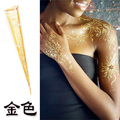 India's Gold Glitter Henna Cone One day Temporary Tattoo, Ideas for bride Henna party commercial speech disposable pen painted