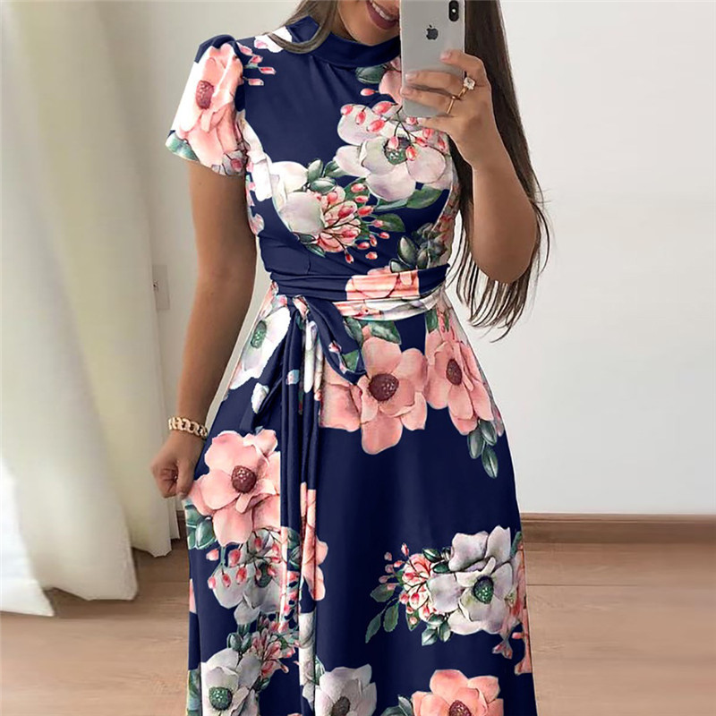 Women Summer Dress 2019 Casual Short Sleeve Long Dress Boho Floral Print Maxi Dress Turtleneck Bandage