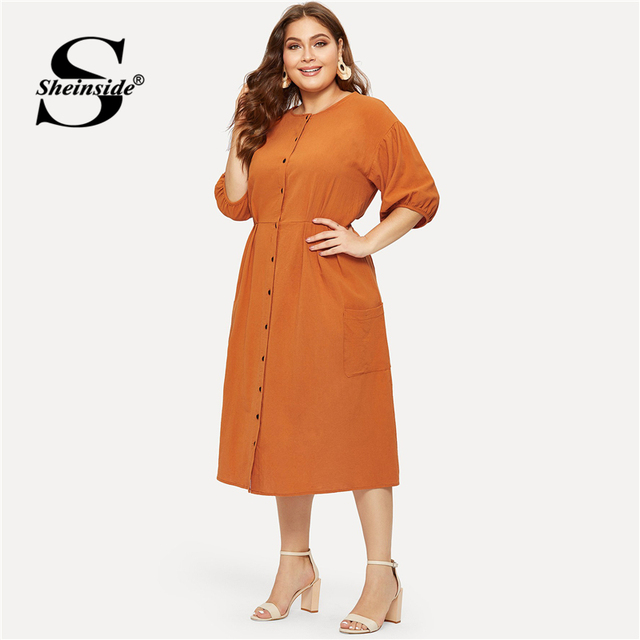 Sheinside Plus Size Orange Pocket Button Front Shirt Dress Women Half Sleeve Bodycon Summer Dresses 2019 Casual Solid Midi Dress 3