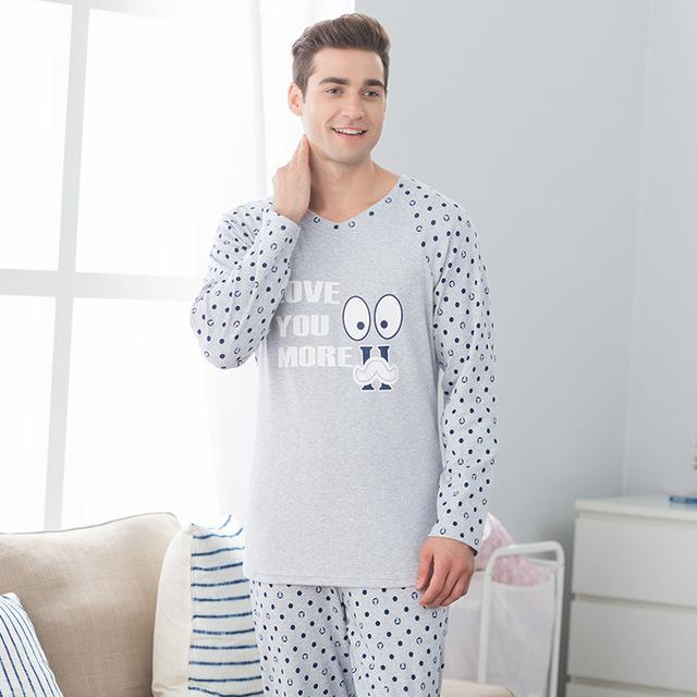 Pares del otoño pijamas de las mujeres de manga larga traje de pantalones hombres casual ropa de algodón