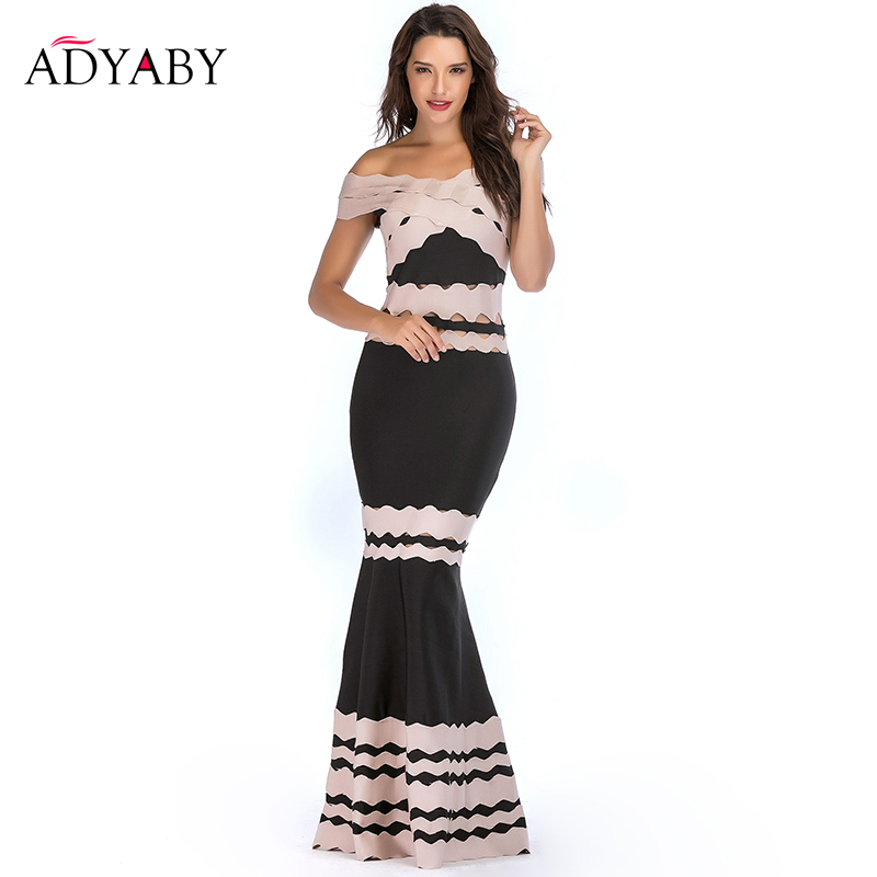 Off Shoulder Long Mermaid Dress Summer 2019 Fashion Black Patchwork Apricot Party Dress Sexy Hollow Out