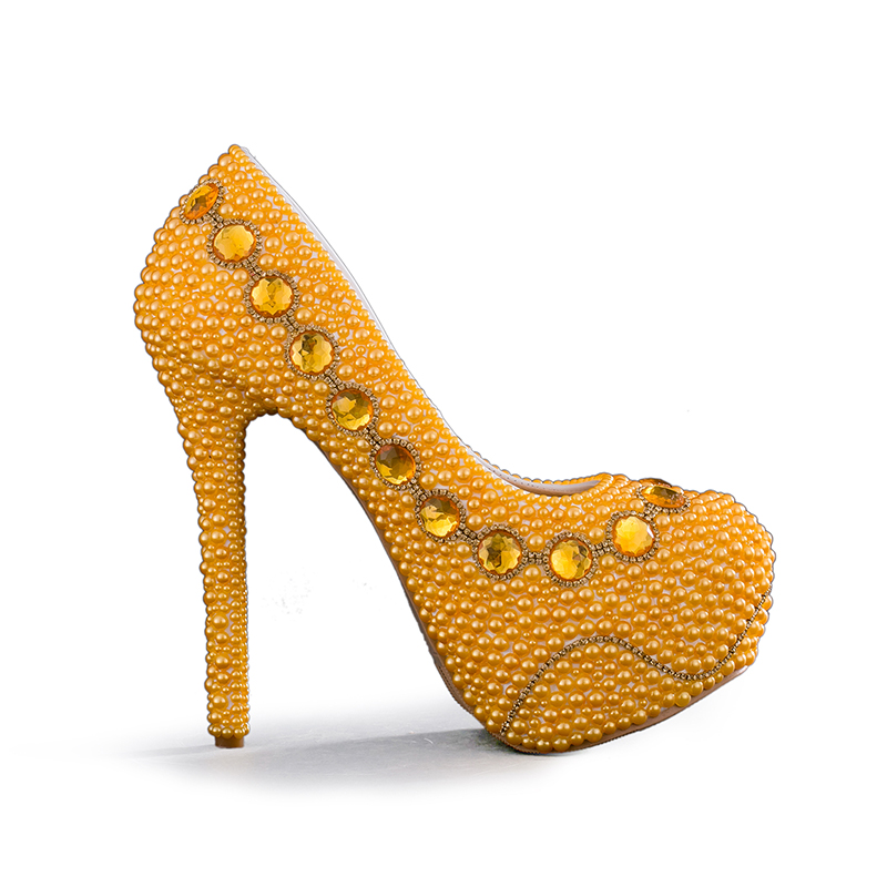 Yellow Bridal Shoes With Matching Bag Handmade Pearl Wedding Party Lady Formal Dress Stiletto Heels Prom Pumps In Women S From On