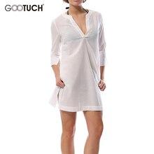 Women's Cotton V Neck Summer Sleep Tops Thin Style Long Sleep Dress Perspective Nightwear With Pockets Nighties Pajamas 2552