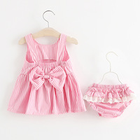 2Pcs Lot Newborn Infant Baby Girls Clothing Sets Cotton Striped Print Summer Dress Shorts Baby Sets
