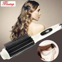 מהיר 2 ב 1 מסרק שיער מחליק & Curler ברזל יישור ברזל שטוח שיער חשמלי קרמי נייד מברשת סטיילינג מסתלסל כלי