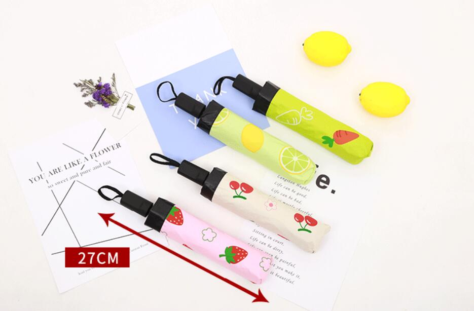 1 piece top black inside Fruits Vegetab cherry lemon strawberry Sunny Rainy Carrot 3 Folding Lovely Gifts Beauty pongee Umbrella