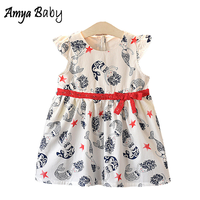 Amya Baby Little Girl Summer Dresses 2018 Cartoon Girls Princess Dress Costume Children Clothing Toddler Girl Dresses Kids Cloth