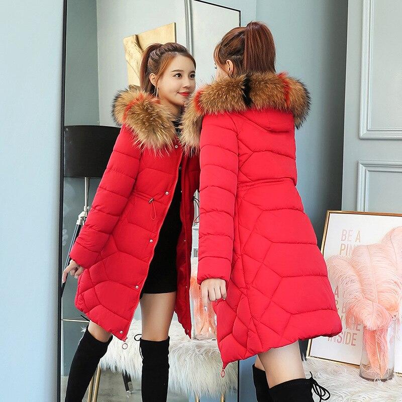Winter Jacket for Women 2018 Elegant Korean Long   Parkas   Coat Jackets Woman Winter OL Coat Fur Hooded Slim Women   Parkas   Outwear