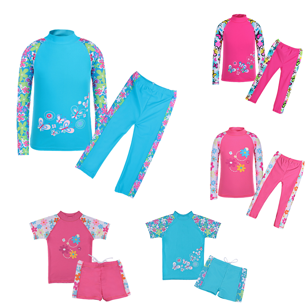 BAOHULU Toddler Girls 2pcs Swimsuit Long Printed Flower Kids Swimwear Children Girl Swimming Suit Beach Bathing Suits
