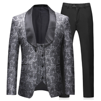 YUNCLOS Newest Mens 3 Piece Tuxedos Vintage Groomsmen Wedding Suit Complete Outfits(Jackets+Vest+Trousers)