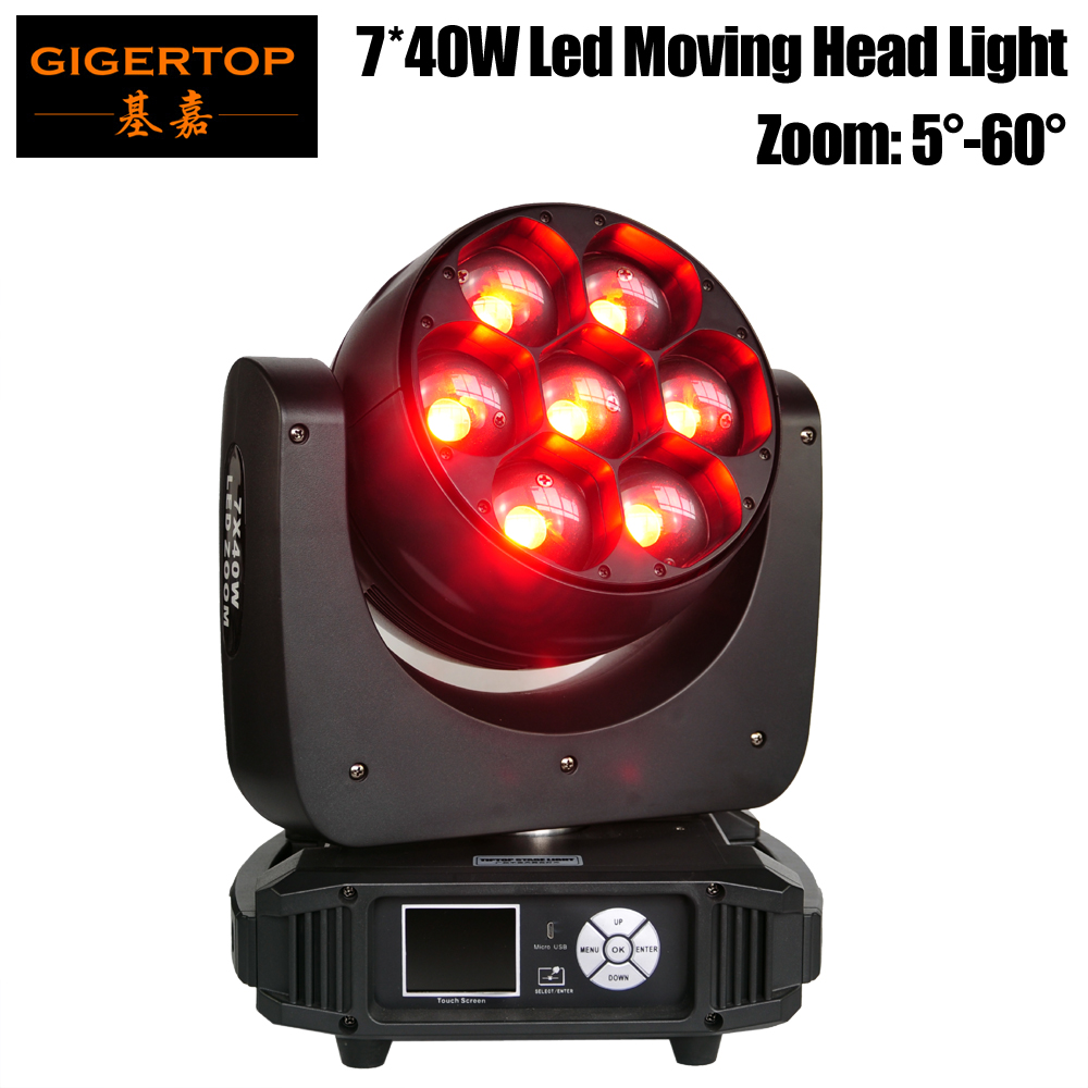 Gigertop TP-L740 320W 7 x 40W RGBW 4IN1 Led Moving Head Zoom Light DMX512 Control Os-ram Original 5-60 Degree Zoom 12/17 ChannelGigertop TP-L740 320W 7 x 40W RGBW 4IN1 Led Moving Head Zoom Light DMX512 Control Os-ram Original 5-60 Degree Zoom 12/17 Channel