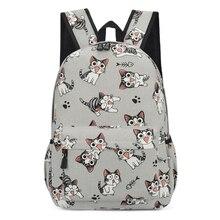 College Cute Cat Print School Bag Women Girls Canvas Backpac
