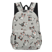 College Cute Cat Print School Bag Women Girls Canvas Backpack Travel Rucksack