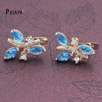 PATAYA 585 Rose Gold Earrings Women Water Drop Blue Natural Zirconia India Jewelry Weddings Fine Accessories Chandelier Earring gold earrings for women