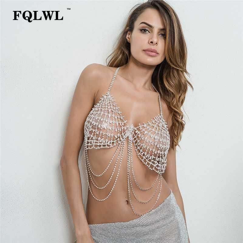 80f96aa819 ... FQLWL Rhinestone Halter Sexy Crop Tops Women Sequined Diamonds Hollow  Out Bra Glitter Crystal Tank Tops ...
