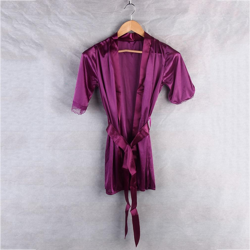 1 Set Women Sexy <font><b>Babydoll</b></font> Lingerie Robe+G-string Satin <font><b>Lace</b></font> Sleepwear Nightdress Pajamas Underwear Drop Shipping Wholesale