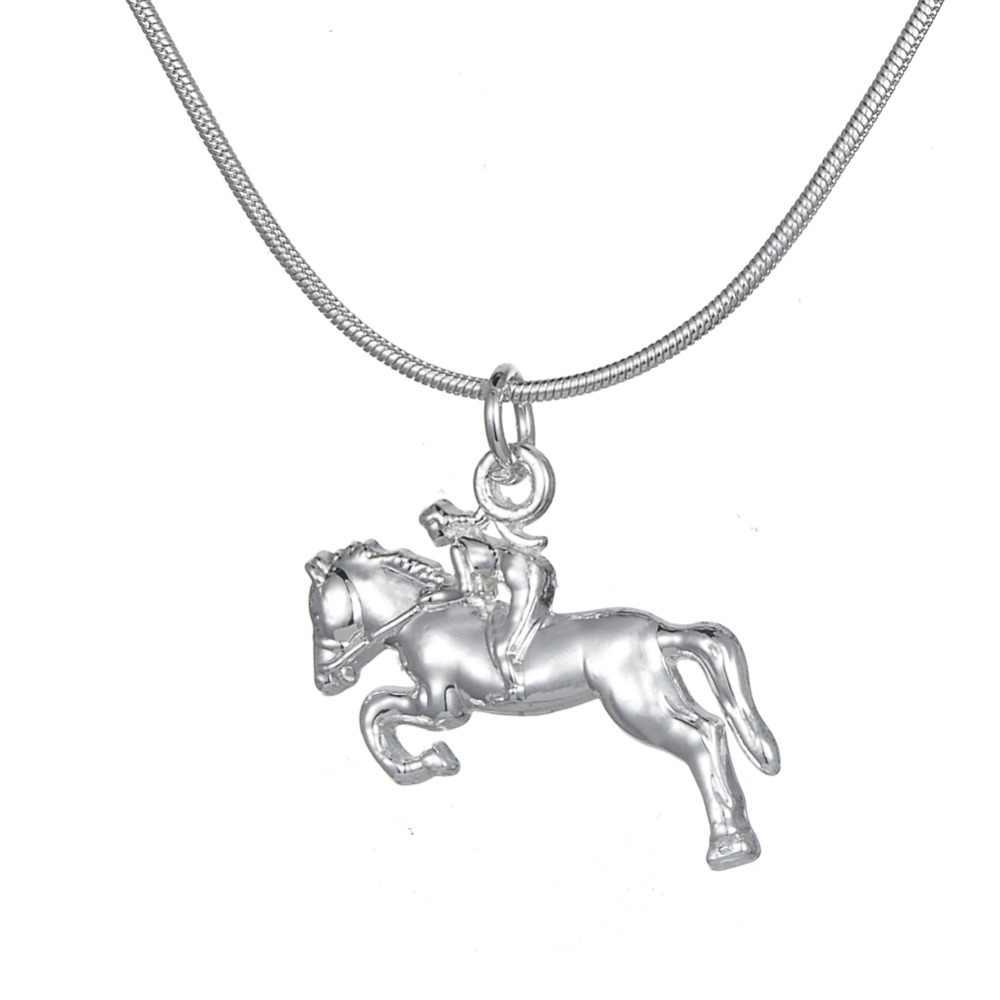 بلدي شكل الفروسية مجوهرات الفضة مطلي الحصان سباق الفارس PendantNecklace مجوهرات هدية ل راعية البقر و الحصان عشاق