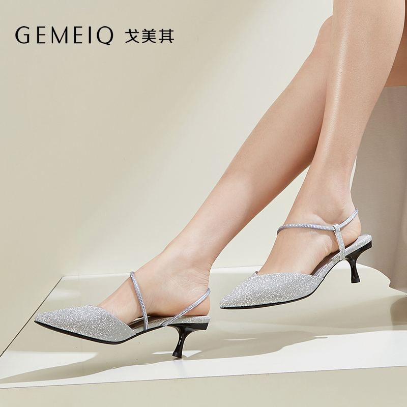 GEMEIQ 2019 summer new product lace-up sandals Stiletto heel shoes Elegant womens shoes GEMEIQ 2019 summer new product lace-up sandals Stiletto heel shoes Elegant womens shoes