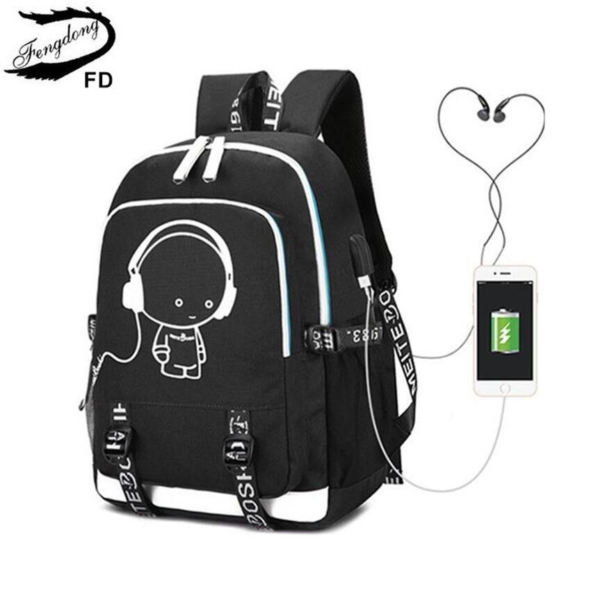 Image 2 - Женский дорожный рюкзак FengDong, черный водонепроницаемый рюкзак  для ноутбука, школьная сумка для девочекРюкзаки