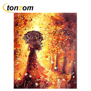 TONZOM Mystical Woman Diy Painting By Numbers Abstract Autumn Leaves Oil Painting On Cuadros Decoracion Acrylic Drawing Wall Art