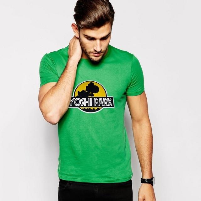Nuevo diseño del hombre de Jurassic Park T Shirt Yoshi Nintendo hombres del estilo de la camiseta versión ORIGINAL o-cuello de la familia camiseta ocasional