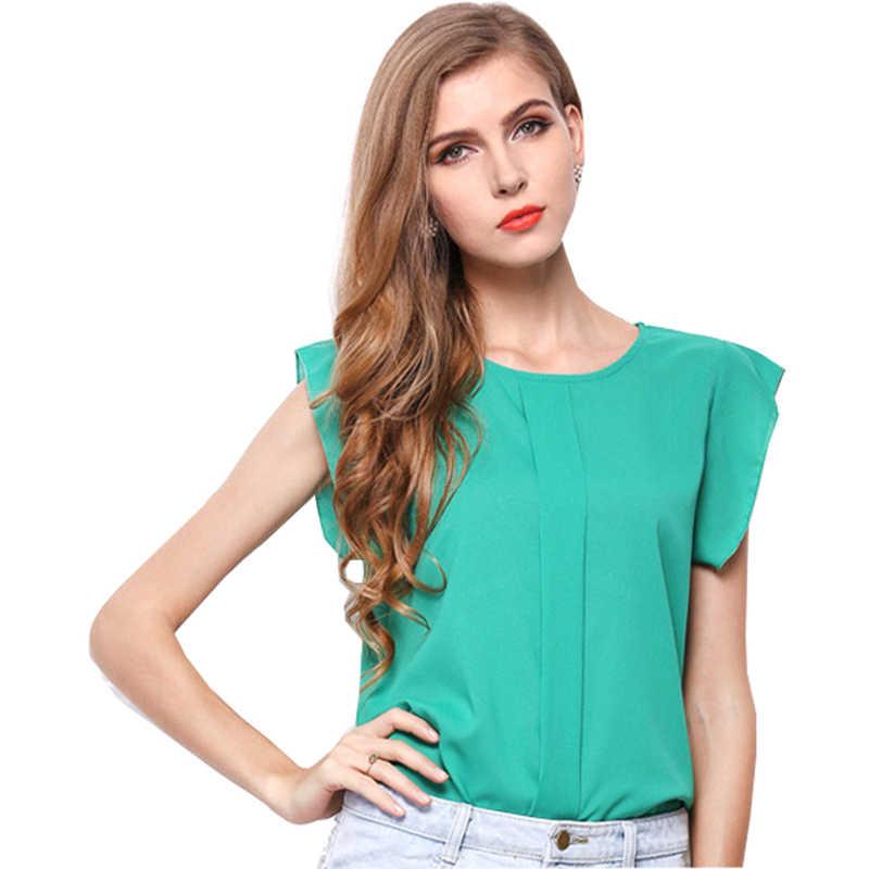 Tシャツの女性 2019 ファッションプラスサイズシフォン無地半袖女性のシャツ卸売証券 vestidos HJY1214