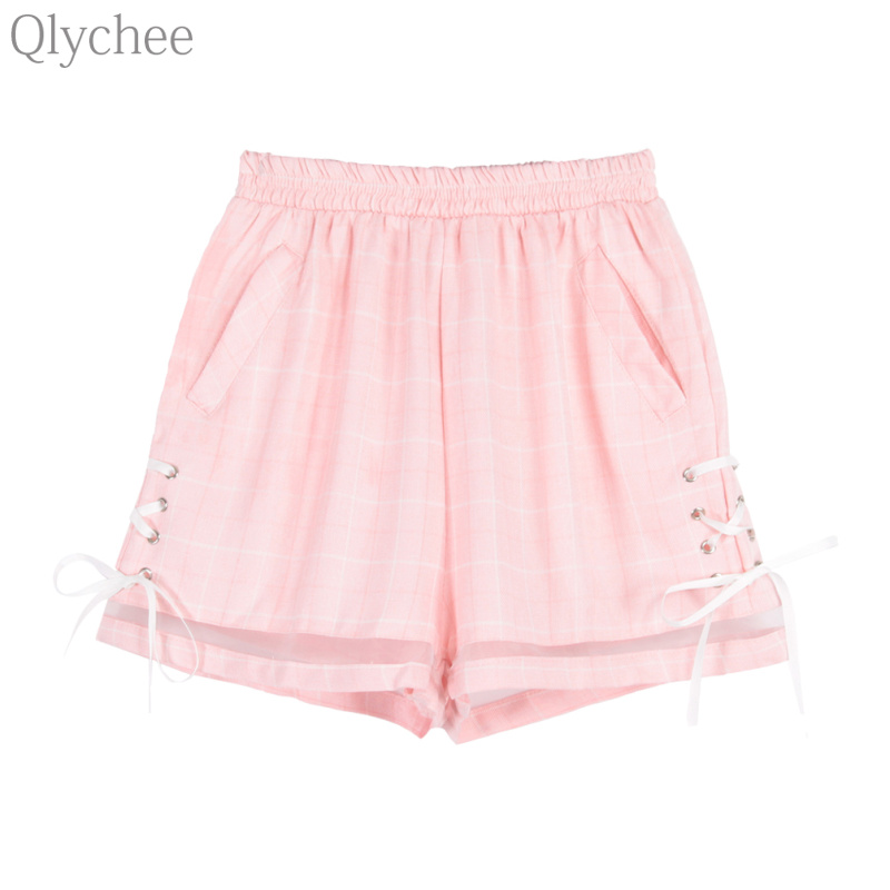 Qlychee Women Summer Streetwear   Shorts   Plaid Lace Up Mesh Patchwork   Shorts   Casual Loose Oversize Lady   Shorts