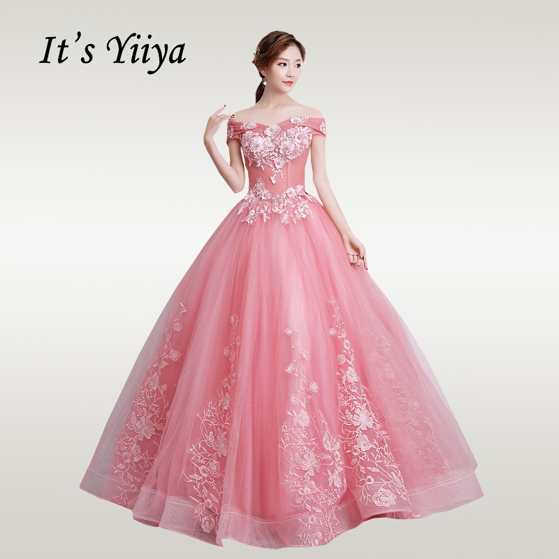 It's YiiYa Wedding Dress Off Shoulder Elegant Wedding Dresses Embroidery Boat Neck Beading Lace Party Vestido De Novia CH003