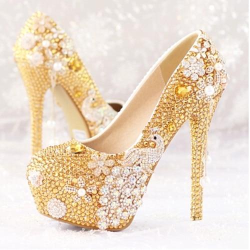 ФОТО 2016 new fashion Women shoes gold diamond bridal shoes with flowers peacock high heel shoes Women wedding shoes Women pumps