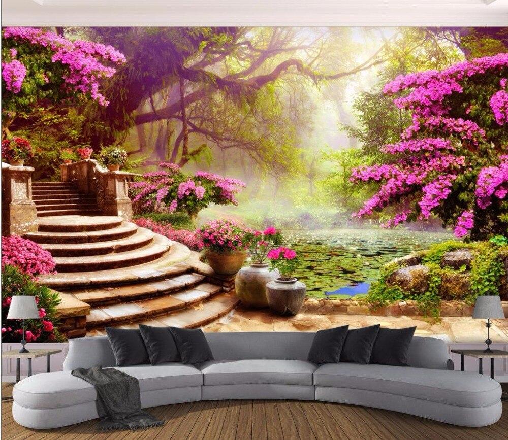 US $15 34 OFF 3d Wallpaper Kustom Foto Mural Taman Taman Pemandangan Gambar Dekorasi Ruang Lukisan 3d Dinding Mural Wallpaper Untuk Dinding 3