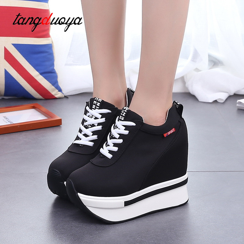 Platform Shoes Women Spring Summer Sneakers Women Shoes Canvas Lace Up Shoes Woman Sneakers Wedge Womens Shoes