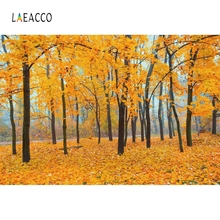 Laeacco Autumn Forest Fallen Leaves Scenery Personalized Backdrops Camera Oil Painting Photography Backgrounds For Photo Studio