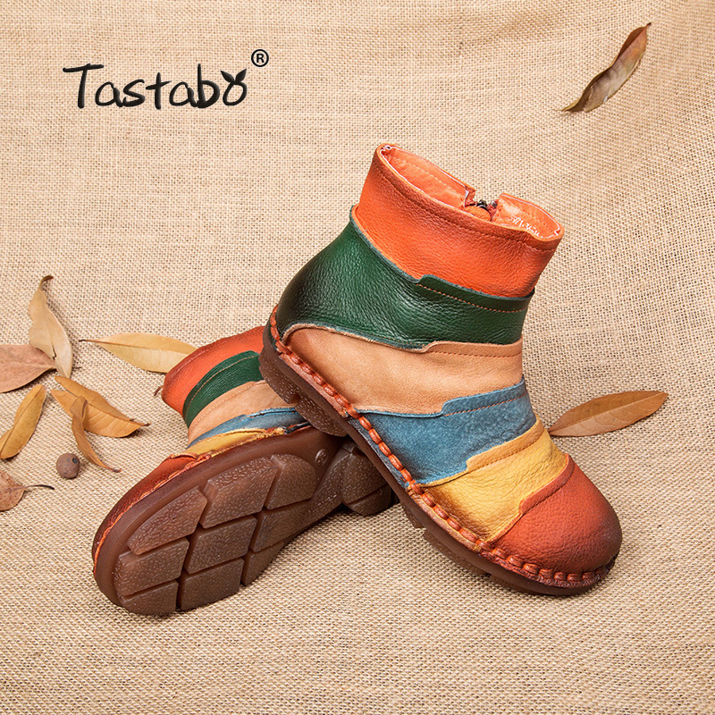 Tastabo Hot Sale Shoe Martin Boots Genuine Leather Ankle Shoes Vintage Casual Shoes Brand Design Retro Handmade Women Boots Lady clearance pre order xW4S6