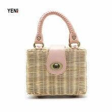 New Brand Fashion Women Straw Bag Retro Summer Rattan Small Knitting Shoulder Lady Woven Beach Bohemia Box Handbag