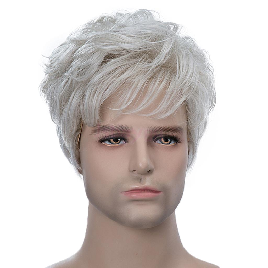 Natural Pixie Cut Male Wigs Short Straight Human Hair Full Wigs Silver Gray