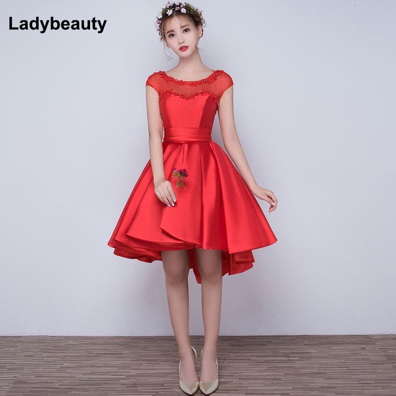 2018 short evening   dresses   High Low New arrival Appliques Sweetheart   Prom     Dresses   Elegant Red Formal Party Gown Plus Size