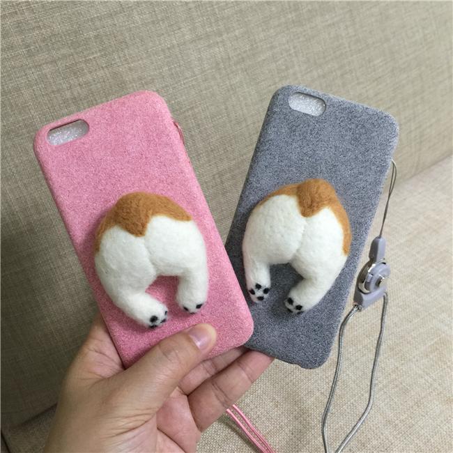 Corgi case handmake igły filcu wełnianego słodkie cat dog tyłek tyłek pokrywa dla apple iphone 6 6s plus iphone 7 7 p miękkie telefon komórkowy case 15