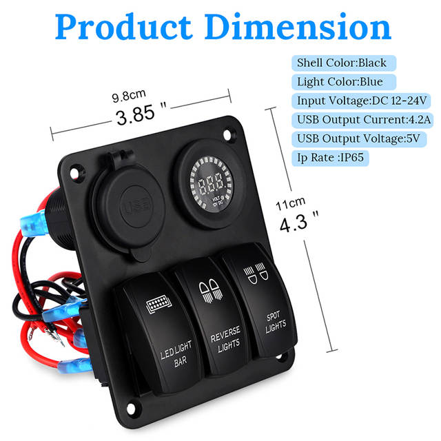 US $27 38 29% OFF|3 Gang Marine Ignition Toggle Rocker Switch Panel 12V LED  Colorful Voltmeter 4 2A Dual USB Charger Socket Adapter For Car Boat-in