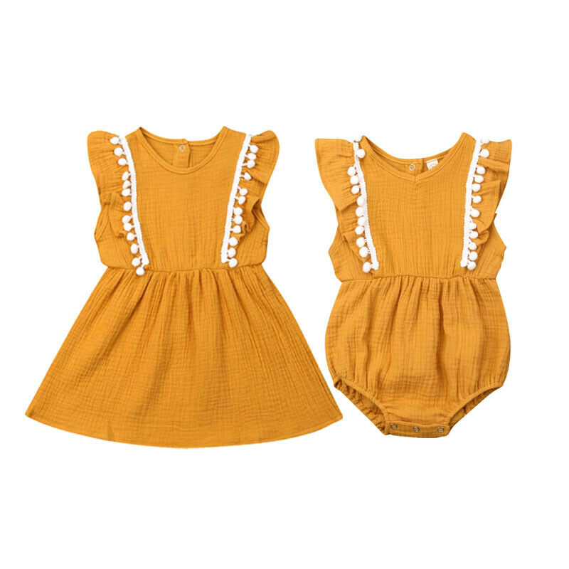 Sister Matching Outfits Princess-Dress Linen Baby-Girls Little/big Romper Newborn Cotton