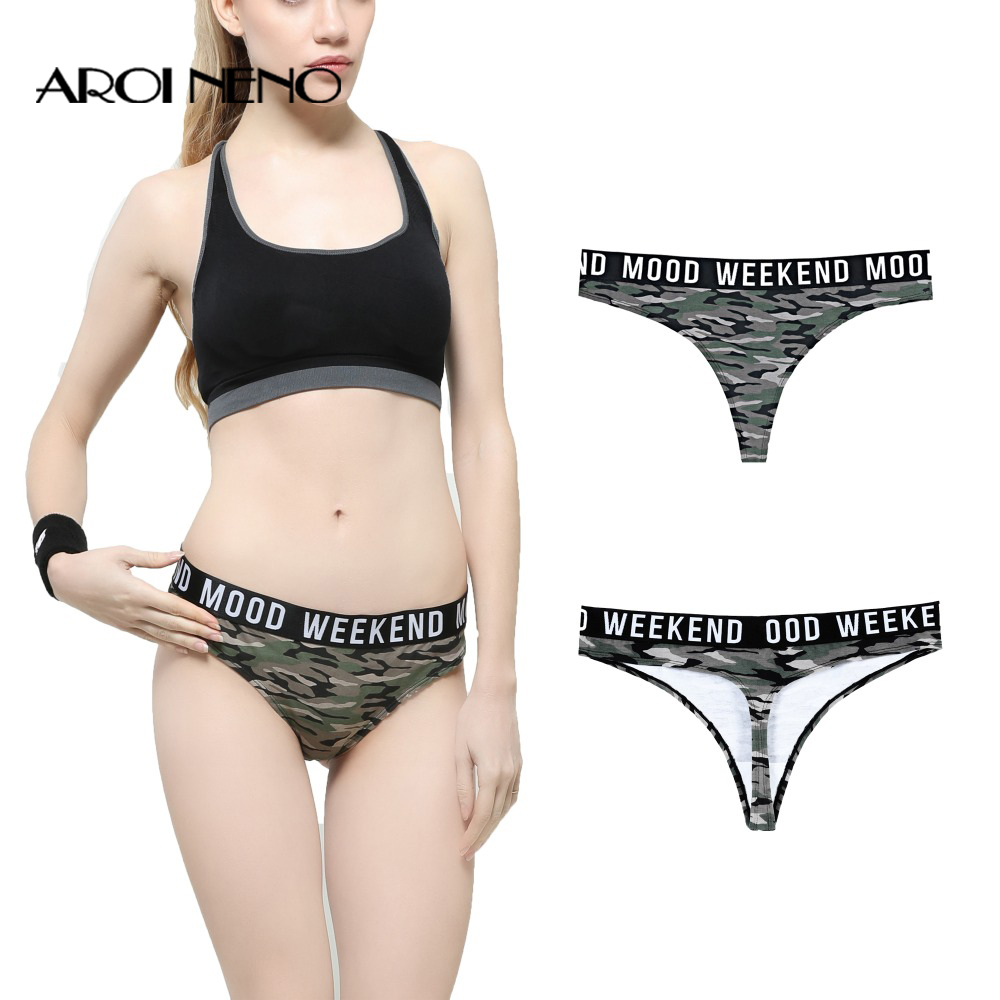 Women   Panties   Sexy Cotton Camouflage LingerieT Back Brief Thongs XS-XXL Girls G String Low-waist Shorts Tomboy Letter Underwear