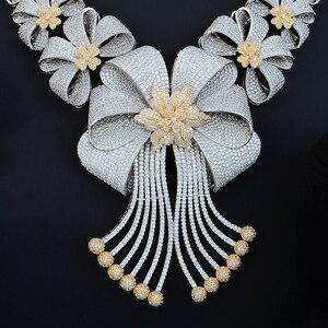 Image 5 - Siscathy תכשיטי הצהרת יוקרה סט CZ גדול פרח צווארון שרשרת להתנדנד עגילי צמיד תכשיטי נשים חתונת סטים