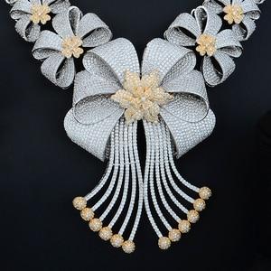 Image 5 - Siscathy Luxe Statement Sieraden Set CZ Grote Bloem Kraag Ketting Dangle Oorbellen Bangle Ring voor Vrouwen Bruiloft Sieraden Sets