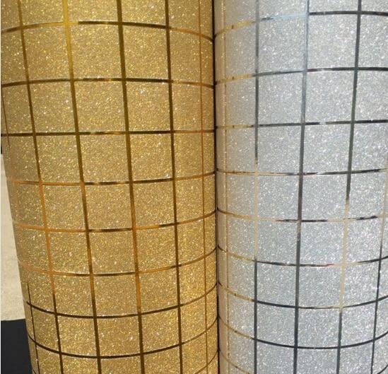 Gold foil and sliver foil vinyl self adhesive mosaic waterproof wallpaper for tile kitchen