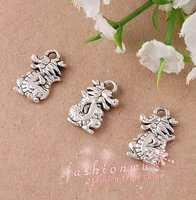 100 Pcs Ancient Silver Plated Lovely Small Dragon Charms 10mmX15mm 0903