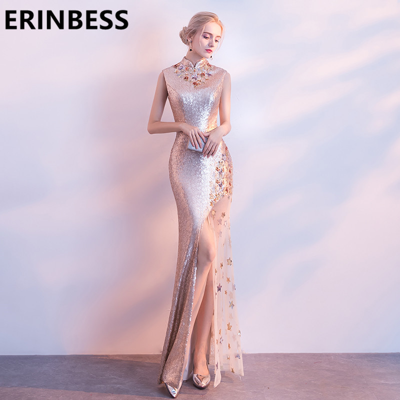 Real Photo Gold Sequined Mermaid   Bridesmaid     Dresses   High Neck Sleeveless High Slit Party Gowns Vestido De Festa